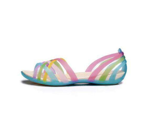 Women Cross Shoes block wedges sandals jelly shoes colorful