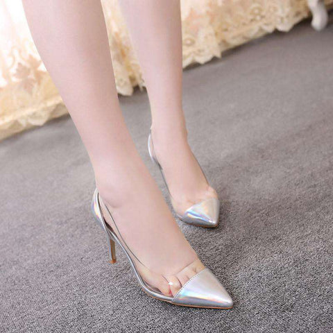 Multi Colored Pointed Closed Toe PU Transparent Slip On Shoes