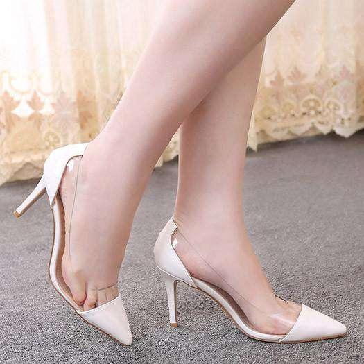4726680f8db Multi Colored Pointed Closed Toe PU Transparent Slip On Shoes