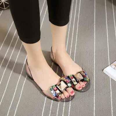 Women Flats Crystal Jelly Leather Multi color Open-toe Sandals