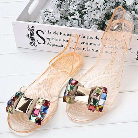 Jelly Shoes Woman Crystal Soft Flat Casual Sandals
