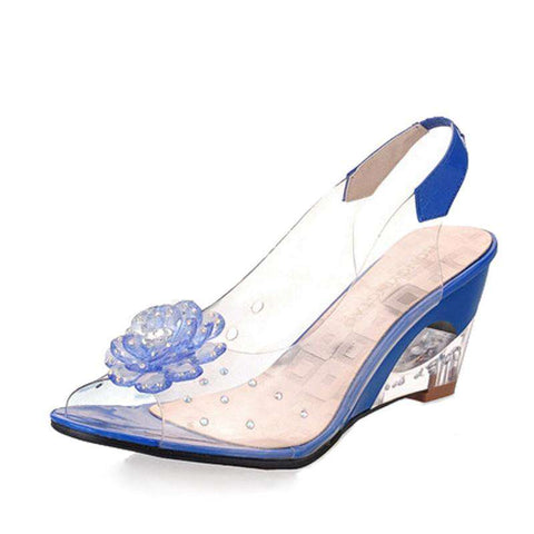 Peep Toe Wedge Sandals With Flowers Jelly Shoes