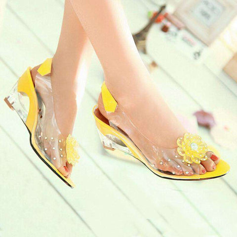 Wedge Sandals With Flowers Sweet Jelly Shoes Woman