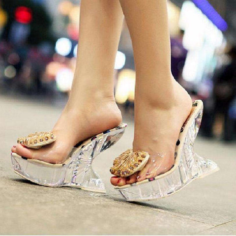 women heels Crystal sweet jelly shoes knot high heel
