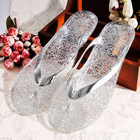 Crystal Metallic Flat Sandals Jelly Beach Shoes Women