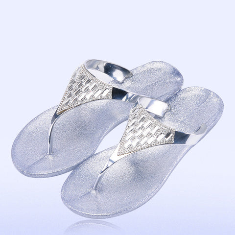 women crystal plating flip flops metallic Rhinestone sandals jelly flat