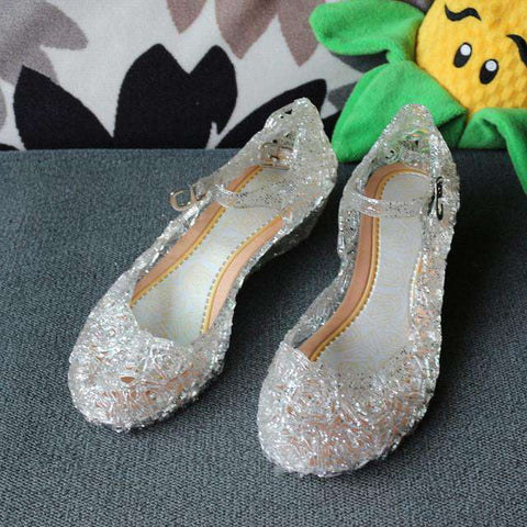 PVC Floral Buckle Strap Flat Jelly Shoes