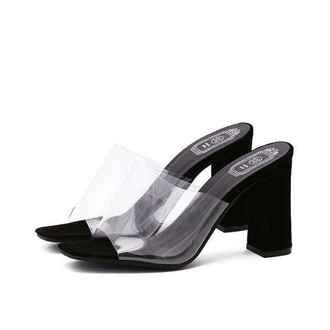 Jelly Shoes Women Slippers Square Toe Transparent Thick Heel