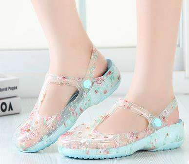 Jelly Shoes Print Slippers Casual For Women