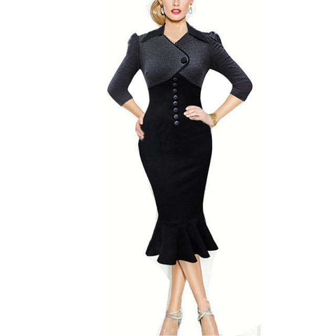 Vintage Wear To Work Bodycon Pencil Sheath Dress Black