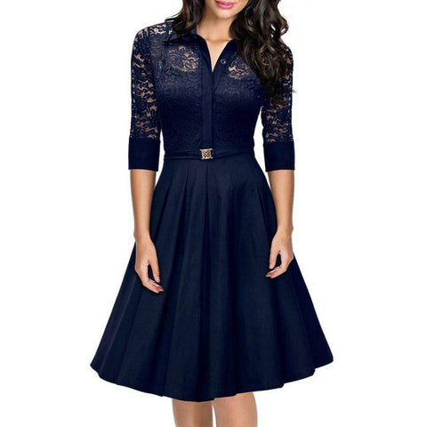 3/4 Sleeve Pleated Elegant Lace Cocktail V Neck Dress Royal Blue