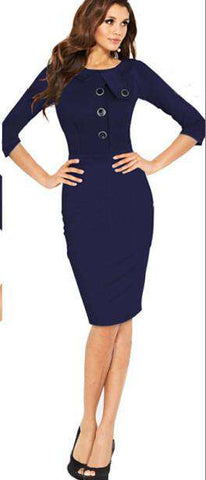 O-neck Full Sleeve With Button Wear To Work Bodycon Dress Black
