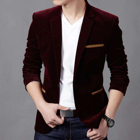 Fit Masculino Casual Blazer Suit with long Sleeves