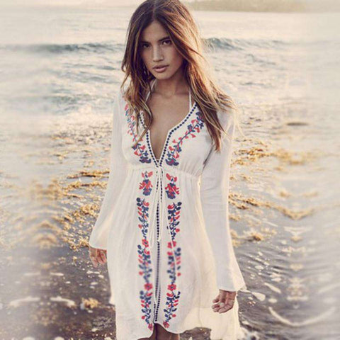 Embroidery Deep V-neck Bikini Cover Up Dress White