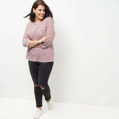 Plus Size Casual Striped Loose Top