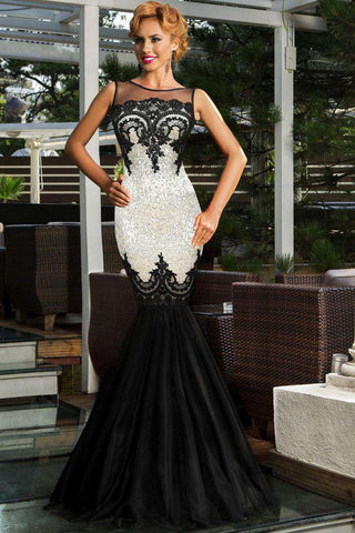 Appliqued Sequin Sheer Formal Mermaid Party Gown