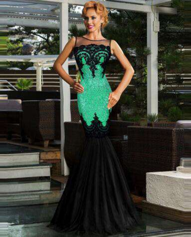 Sequin Appliqued Sheer Top Formal Mermaid Party Formal Gown Black