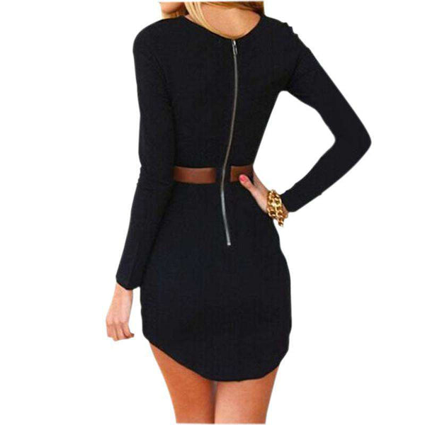 Bodycon Long sleeve Slim Cocktail Party Short Mini Dress Black
