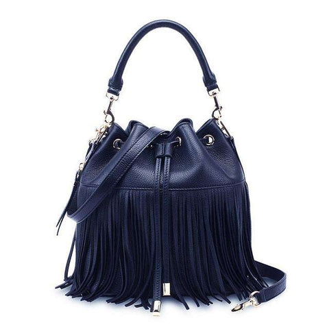 Classic Tassel Fringed Women Cross Body Bucket Black