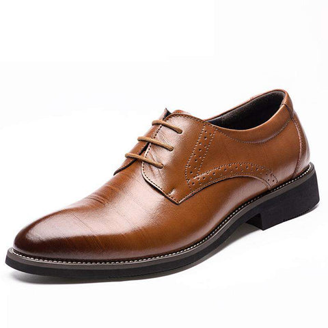 Men's Genuine Leather Lace Up  Pointed Toe Formal Brown Dress Shoes