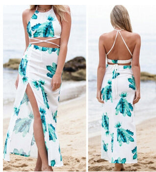 Two Piece Outfits Flowers Maxi Beach Side Split Backless Dress White