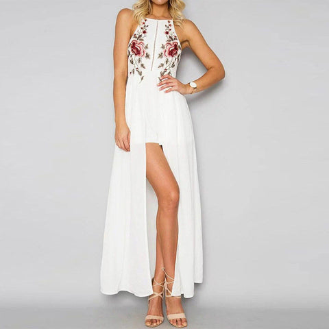 Slim Sleeveless Halter Neck Floral Print Bodycon Maxi Dress White