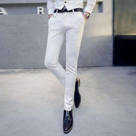 Men's Slim Fit Regular Full Length Dress Pants White