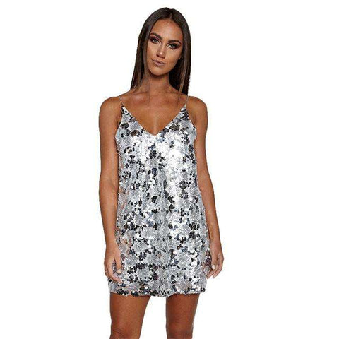 Backless V Neck Sparkle Shinny Halter Sequin Slip A-Line Party Beach Mini Dress Silver
