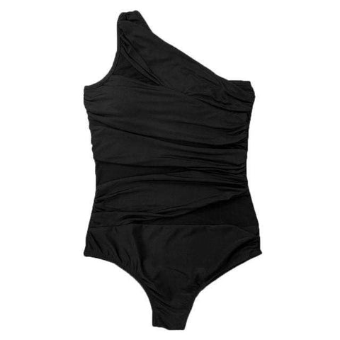 One Piece Retro Plus Size Swimwear Push up Padded Bikini Black
