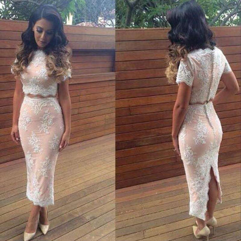Lace Embroidery Bandage Bodycon Cut Out Two Piece Dress