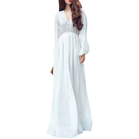 White Boho Evening Party Long Maxi Beach Dress Chiffon