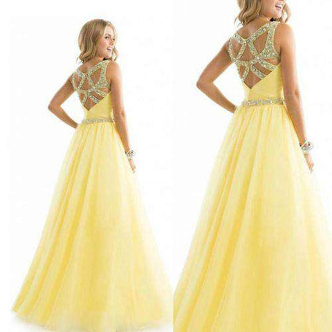 Sexy Chiffon Bridesmaid Ball Formal Party Prom Maxi Dress Yellow