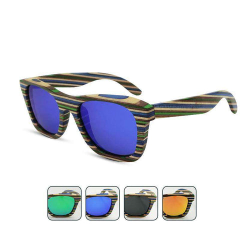 Multi Color Wooden Polarized Outdoor Sunglasses
