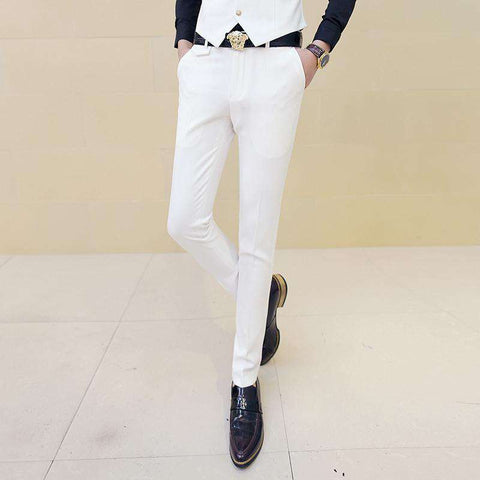 Men's White Skinny Slim Fit Trouser Dress Pant