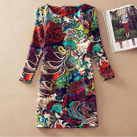 Casual Dress Print Long Sleeve Women Clothes Mixed Colors