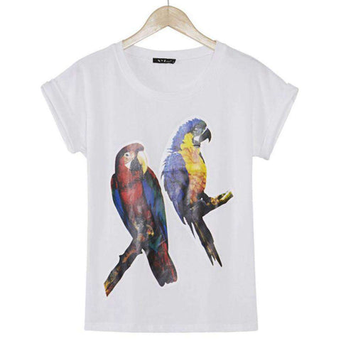 3D Parrot Printed Bat Sleeve Casual White T Shirt