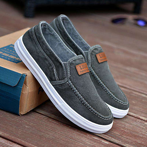 Men's Denim Shoes Slip On Casual Canvas Shoes