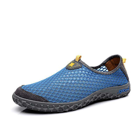 Men's Breathable Mesh Athletic Trainer Lightweight Walking Sneakers Blue