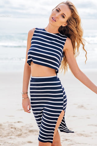 Stripe Casual Sleeveless Crop Top + Bodycon Mini Two Piece Dress Blue