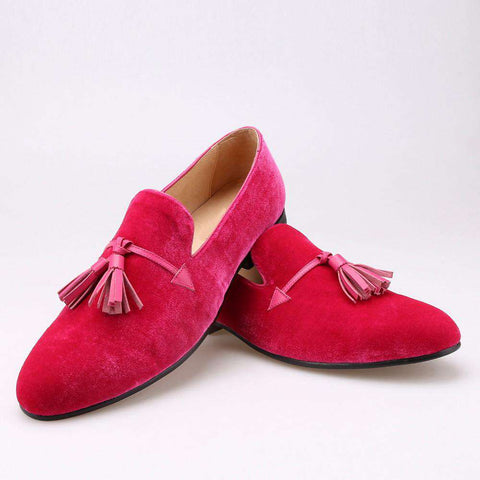 Pink Color Velvet Leather Tassel Loafers Wedding And Party Shoes Men's Flat