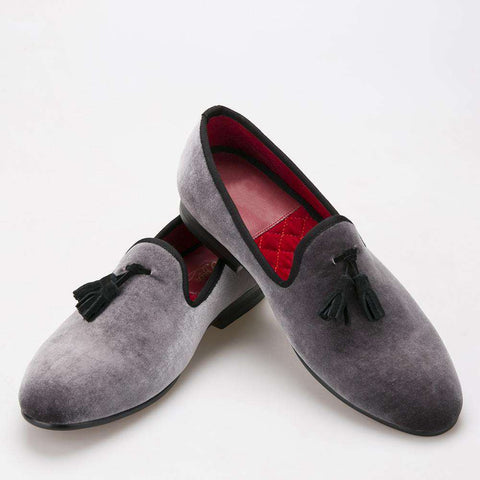 Men's Handmade Grey Velvet Loafers With Black Suede Tassel