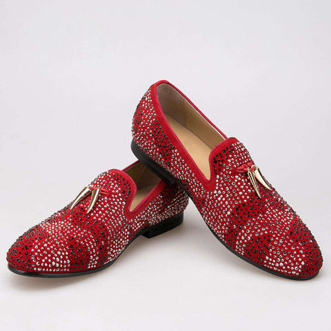 Red And Black Suede With Gold Tassel And Exquisite Crystal Men Wedding And Party Loafers Dress shoes Flats