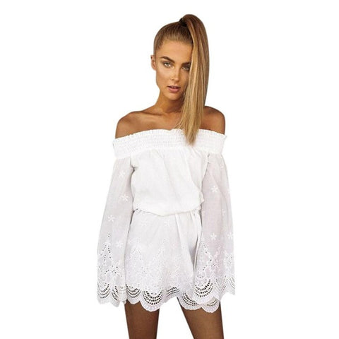 Women Off Shoulder Hollow Out White Ladies Long Sleeves Dress