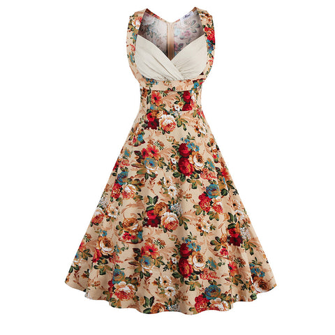 Women's Floral Print Vintage Retro V-neck Cotton Dress