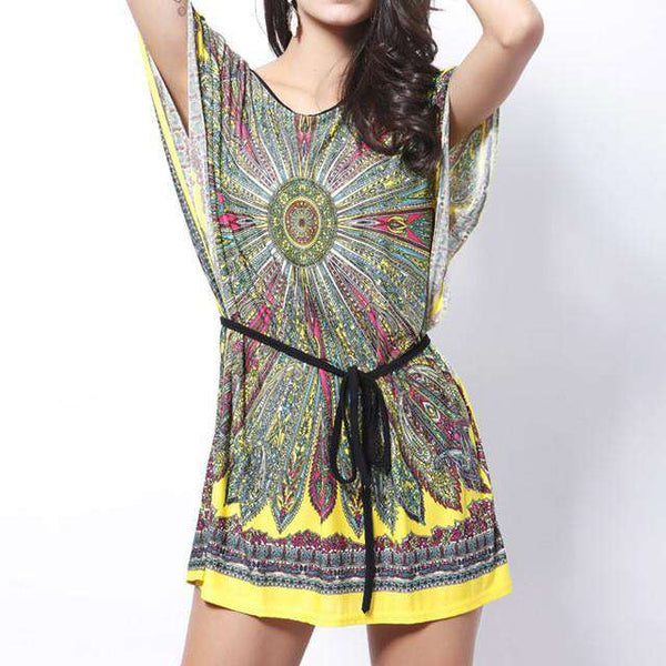 Above Knee Retro Ethnic Print Boho Party Dress for Women