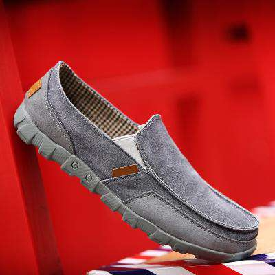 Men's Flat Canvas Denim Loafers Breathable Slip-On Shoes Footwear