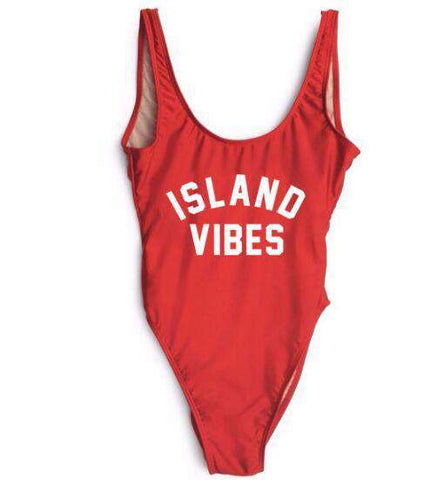 Island Vibes Letter Printed One Piece Swimwear Red