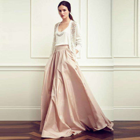 Satin Pleated Floor-Length Champagne Maxi Skirt Beige