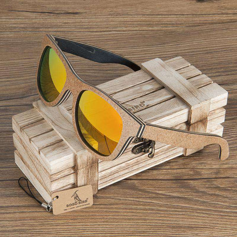 Polarized Skateboard Wood Sunglasses Retro Round Frame Unisex