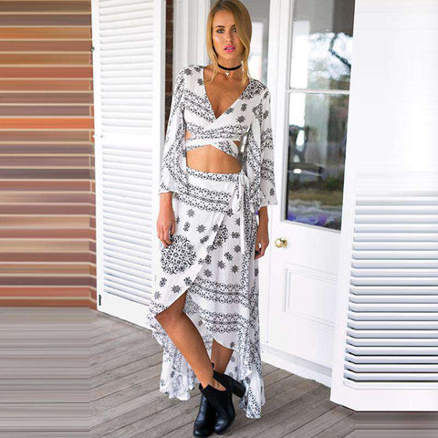 Beach Wear Cover Up Kaftan Two Pieces Swing Skirt Dress White